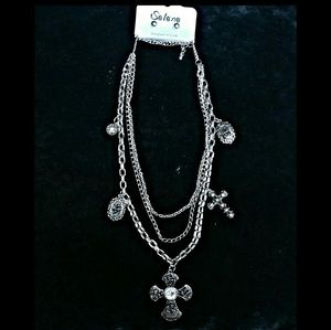 Filigree Cross and Rose Multi-Layer Necklace Set